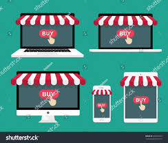 Awning Online Concept Online Shopping Computer Laptop Smartphone Stock Vector