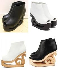 wedding shoes jeffrey cbell jeffrey cbell skate platform boot booties scroll wood heel