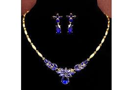 blue stone necklace earrings images Flower shaped necklace earrings jewelry set model wz 1001 woodzap jpg