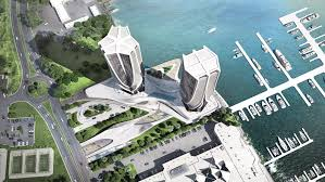 zaha hadid partners with sunland on mariners cove towers image via
