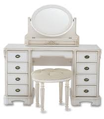 white wooden mirrored desk with 8 drawers and wooden tufted fabric