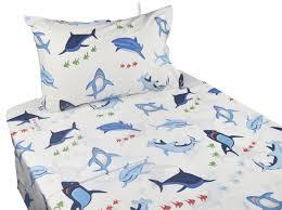 j pinno cute cartoon blue shark printed twin sheet set for kids