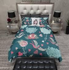 light and dark teal rockabilly duvet bedding sets ink and rags