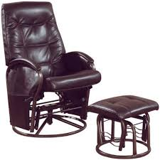 rocker recliner with ottoman monarch specialties brown leather look and swivel rocker recliner