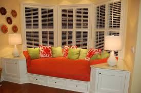 Home Window Decor Bedroom Astonishing Bedroom Bay Window Decor With Orange Padded