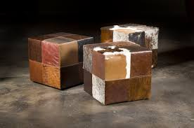 Ottoman Cubes by Custom Patchwork Leather Ottoman City Creek Furniture