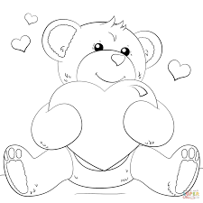 cute bear with heart coloring page free printable coloring pages