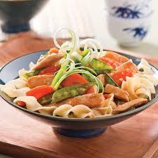 cuisine oeufs sauté de poulet teriyaki sur nouilles aux oeufs recettes