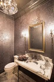 bathroom lavish bathroom with patterned wallpaper also metallic