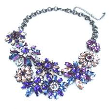 purple stone necklace images Me up purple stone encrusted flower statement necklace jpg
