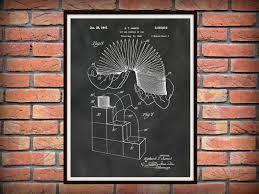 patent 1947 slinky art print steel spring toy stair walker