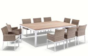 tuscany 10 seater teak and aluminium dining setting with half