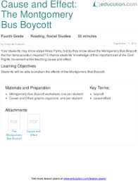 cause and effect the montgomery bus boycott lesson plan