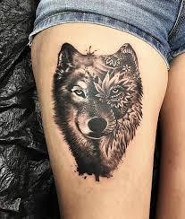 amazing grey and black mandala wolf on right thigh