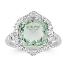quartz engagement ring vintage cushion cut green quartz and ring shane co