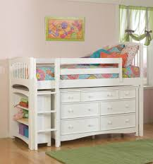White Wooden Furniture Adjustable Beds Sturdy Kids Wooden Beds With Cute Bedding Set