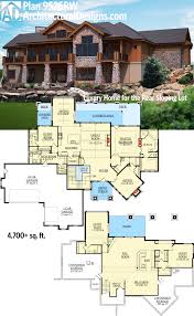 two levels of views on the back side of architectural designs plan 9525rw lower level living