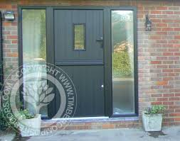 Front Doors With Glass Side Panels Solidor Conway Composite Door In Black With Matching Frames And