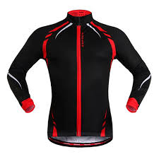 warm cycling jacket wosawe black red cycling jacket windproof long sleeve bike bicycle