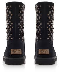 ugg eliott sale lyst ugg black eliott studded sheepskin boots in black