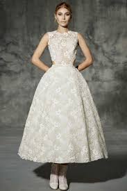 lace tea length lace princess sleeveless jewel 50s style wedding