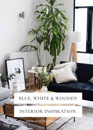 Home Interior Inspiration Blue White U0026 Wooden Interior Inspiration Apartment Number 4