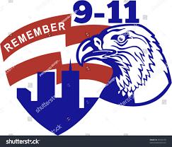 American Flag Words Vector Illustration American Bald Eagle American Stock Vector
