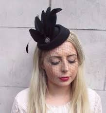funeral veil black veil feather pillbox hat hair fascinator races funeral clip