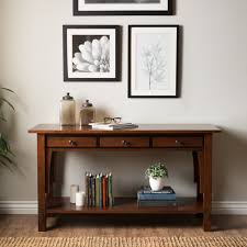 furniture rectangle brown wooden entryway tables with three
