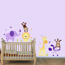 Nursery Wall Decals For Girls by Purple Jungle Wall Decals With Lion Stickers For Girls Rooms