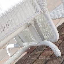 Outdoor Patio Loveseat White Resin Wicker Outdoor 2 Seat Loveseat Glider Bench Patio