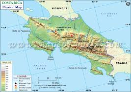 jamaica physical map map of costa rica
