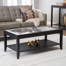 Modern Office Table With Glass Top Sutton Glass Top Coffee Table With Slat Bottom Hayneedle