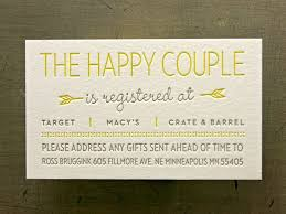 bridal registration wedding registry cards in invitations 6590