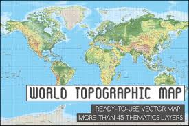 Topographical Map Of United States by Topographic World Vector Map Illustrations Creative Market