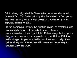 printmaking originated in china after paper was invented about
