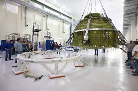 orion crew module for exploration mission 1 lifted to test stand