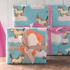 unicorn wrapping paper sheets by inkpaintpaper