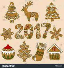 Deer Christmas Tree Decorations by Set Colored Sketch Gingerbread Elements Christmas Stock Vector