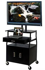 multimedia cart with locking cabinet this multimedia presentation cart includes locking storage and