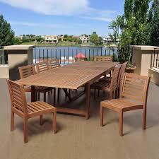Eucalyptus Outdoor Table by Amazonia Turner 9 Piece Eucalyptus Extendable Rectangular Patio