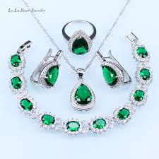 green drop necklace images L b silver 925 necklace for women green created emerald jewelry jpg
