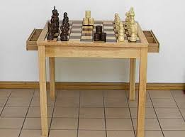 Chess And Checkers Board Game Table Set With Storage Drawers - Board game table design