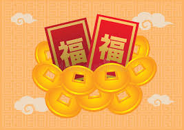 new year gold coins new year packets and gold coin stock vector
