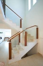 Wood Glass Stairs Design Wooden Railing Glass Panel Indoor For Stairs Md Blong 1
