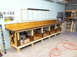 finished shop work bench with shelving u0026 storage insets bench top
