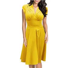 special yellow colour v neck mature plus size woman fashion