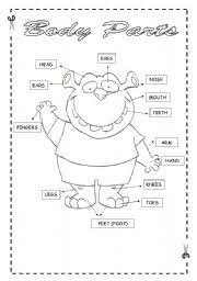 worksheet body parts