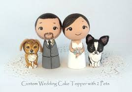 custom wedding cake toppers and groom custom wedding cake toppers 2 pets groom dog cat kokeshi