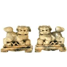 foo dog bookends pair of grey marble foo dog bookends for sale at 1stdibs